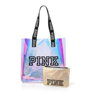 NEW VS PINK IRIDESCENT TOTE AND WALLET